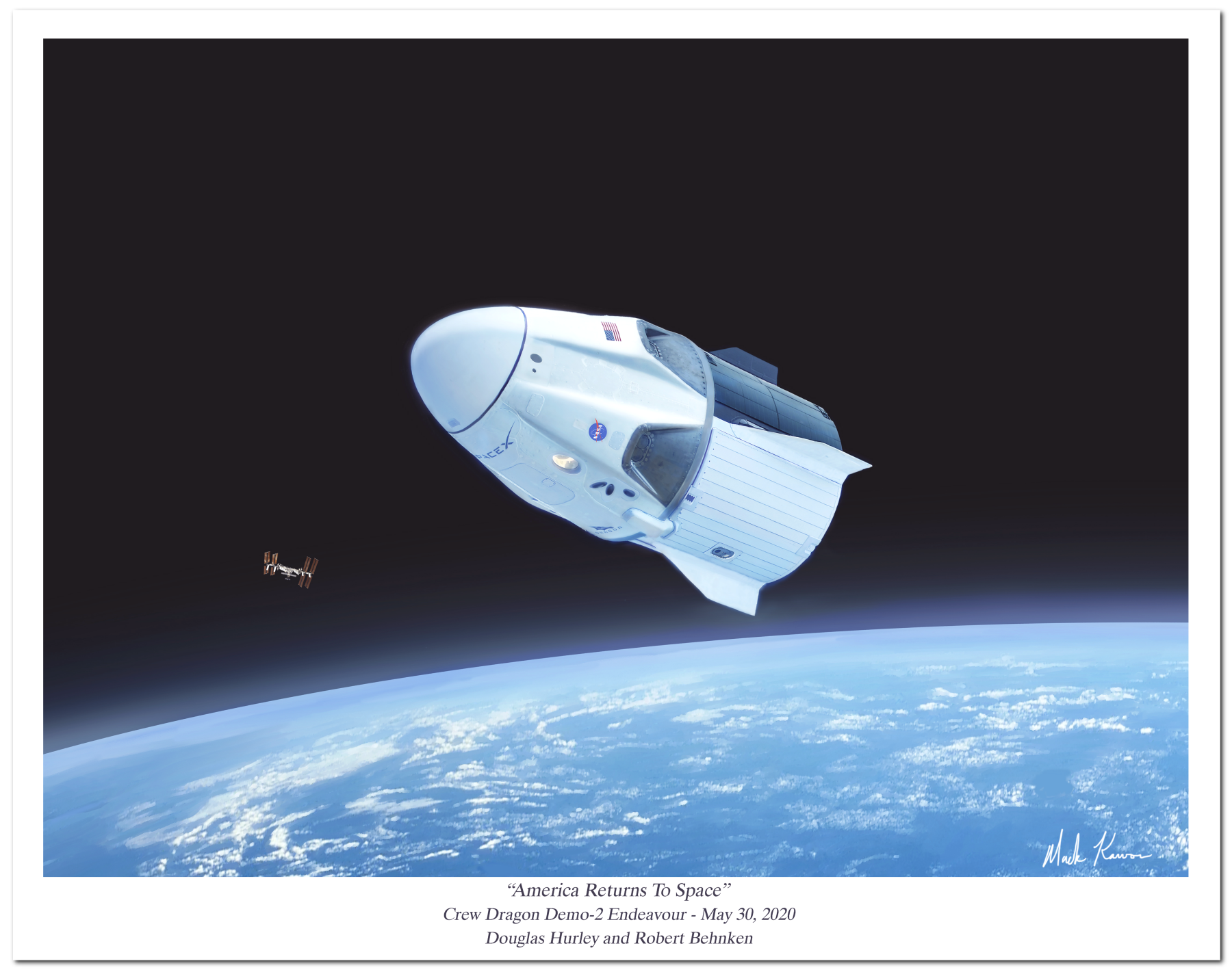"""America Returns to Space"" by Mark Karvon featuring the SpaceX Crew Dragon 2 Demo-2 Endeavour"