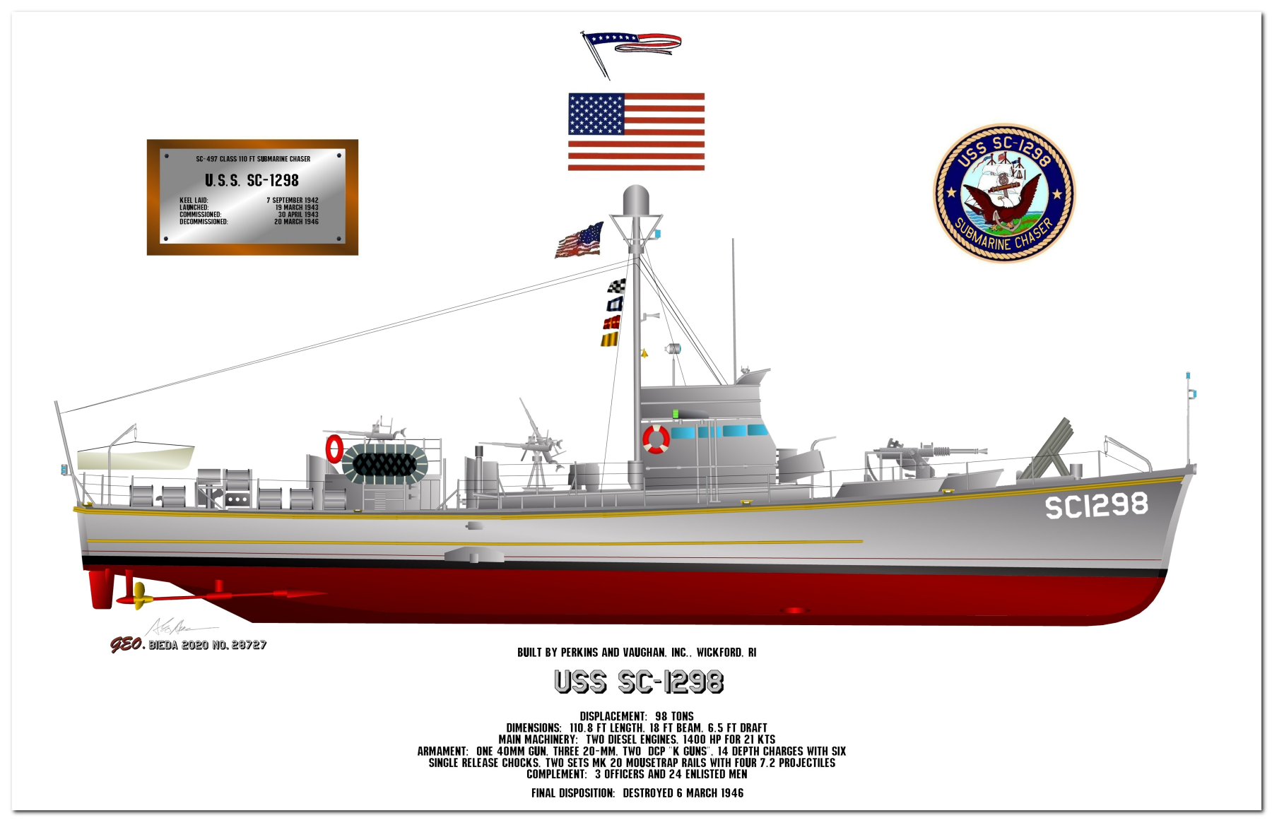 SC-497 Class Submarine Chaser Profile Drawings by George Bieda
